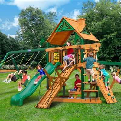 Acadia Swing Set with Timber Shield Grassy