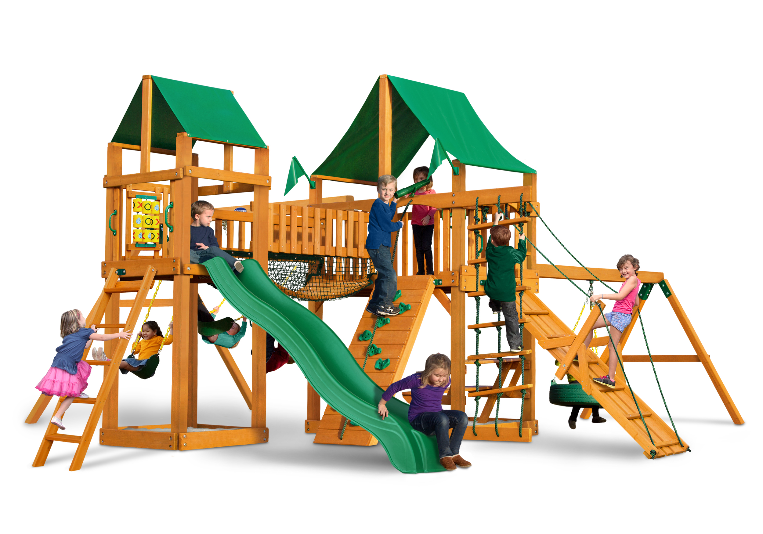 Horizon Swing Set With Clatter Bridge Tower And Tire Swing Usa Play