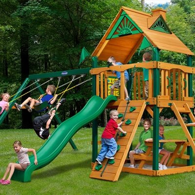 Horizon Swing Set with Timber Shield Grassy