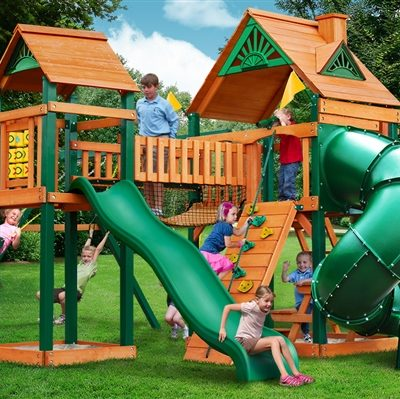 Adelade Swing Set with Timber Shield Grassy