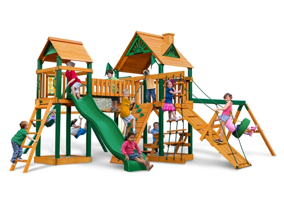 Horizon Swing Set With Clatter Bridge Tower And Tire Swing Usa Play